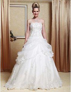 A-line Strapless Organza Floor-length Wedding Dress