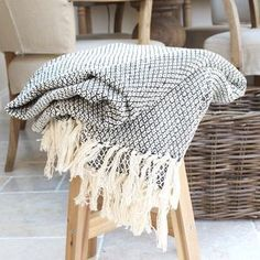 """Black And Cream Woven Throw 