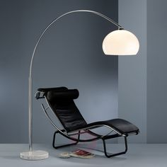 Awesome Arc Lamp With White Glass Lampshde And Black Leather Lounge Chair Curved Floor Lamp, Unique Floor Lamps, Arc Floor Lamps, Contemporary Floor Lamps, Arch Lamp, Silver Floor Lamp, Torchiere Lamp Shade, Living Room Lighting, Flooring
