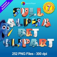 FINDING DORY - Full Alphabet Clipart - 252 png files 300 dpi for Cardmaking, Scrapbooking, Party Decorations and More - Instant Download by ElectroPaper on Etsy