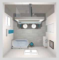 Frieling: Das moderne Bad mit T-Lösung – 16 qm Frieling: The modern bathroom with a T solution - 16 Bathroom Plans, Bathroom Layout, Bathroom Interior Design, Modern Bathroom, Small Bathroom, Master Bathroom, House Plans, Home, Sauna