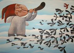How's a pain starts running out of my heart  Dmitry Bukhrov  Naive art  Acrylic paintings