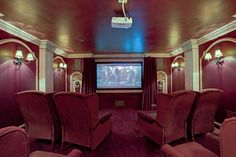 Vintage home theatre- My dad's theatre room at 1207 Lakeshore Rd East, Oakville At Home Movie Theater, Home Theater Rooms, Oakville Ontario, Theatres, Estate Homes, Luxury Real Estate, Interior Ideas, Man Cave, Condo