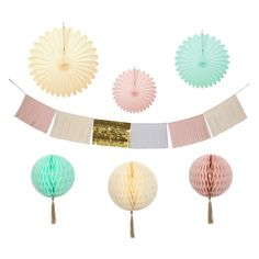 7 Piece Pale Pastel Colour Wedding Hanging Decoration & Banner Decorating Kit in Home, Furniture & DIY, Celebrations & Occasions, Party Supplies   eBay!