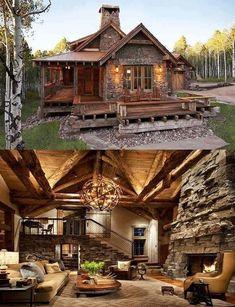 145 Small Log Cabin Homes Ideas – – - Traumhaus Future House, Log Cabin Homes, Log Cabins, Rustic Cabins, Rustic Homes, Small Log Homes, Rustic Home Plans, Small Log Cabin Plans, Diy Log Cabin