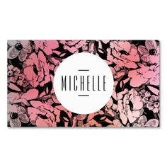 Glamorous On-Trend Pink Ombre Floral Pattern Customizable Business Card Template - Personalize the card's front and back with your own info. A stylish design for makeup artists, salons, stylists, fashion designers, boutiques and more.