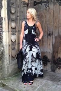 Keely is modelling a black and white #maxidress from Nu by staff. #tiedye #beaded #monochrome http://www.walkersofpottergate.com/outfit/600/keely-22/