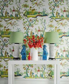 Adorn your walls with 'CH'IN LING' wallcovering and fill your home with the charm of chinoiserie! Foyer Decorating, Interior Decorating, Interior Design, Chinoiserie Wallpaper, Home Wallpaper, Chic Wallpaper, Beautiful Wall, Eclectic Decor, Elle Decor