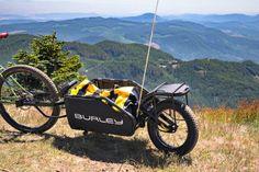 Burley Coho XC full-suspension bike trailer, packing in backcountry singletrack now - Bikerumor Cargo Trailers, Bike Trailer, Full Suspension, Camping Gear, Mountain Biking, Touring, Make It Simple, Bicycle, Adventure