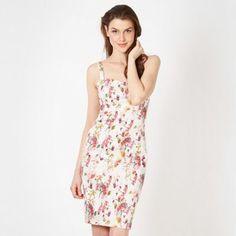 Red Herring White graphic blossom dress