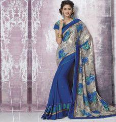 Blue Color Half Brasso & Half Georgette Party Wear Sarees : Prunit Collection  YF-37748