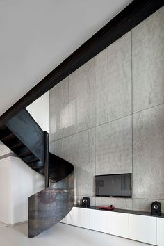 Nam Dger Apartment is a unique modern home situated in Nam Tower in the heart of Tel Aviv, Israel, designed by Gerstner Architects Staircase Railings, Staircases, Spiral Staircase, Staircase Design, Architects Journal, Stairway To Heaven, Tel Aviv, Contemporary Interior Design, Interior Design Kitchen