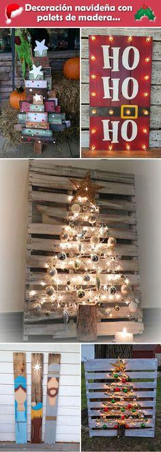 Decoración navideña con palets de madera. Tarimas de madera para decorar la Navidad.