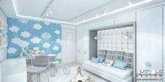 Projektowanie wnętrz pokoju dziecięcego. Pokój chłopca. Niebieska kolorystyka i łagodna stylistyka dopasowana została do wieku i płci dziecka. Więcej na www.artcoredesign.pl