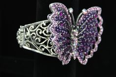 Purple Crystal and Bead Butterfly Cuff Bracelet. Only $24.99!