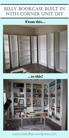Billy Bookcase Built-In with Corner Unit DIY: Our Library Reveal – Billy Bücherregal mit eingebauter Eckeinheit DIY: Unsere Bibliothek Reveal – House, Home, Billy Bookcase, Home Remodeling, Cheap Home Decor, Home Renovation, Home Office Design, Bookcase Diy, Built In Bookcase