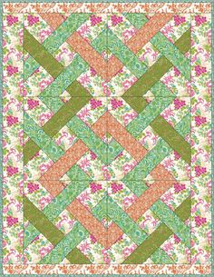 Made from Anna Griffin Fifi and Fido Fabric Blue and Green Log Cabin Crib Quilt
