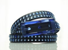 tie-ups Glam Pins Blue Fury. The first studded recyclable belt. www.tie-ups.com
