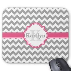 Pink Grey Chevron Pattern & Moroccan Quatrefoil Mouse Pad