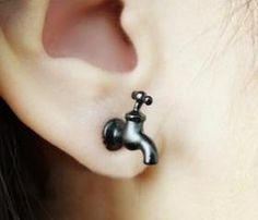 [grlhx130032]Cool Black Tap Earrings