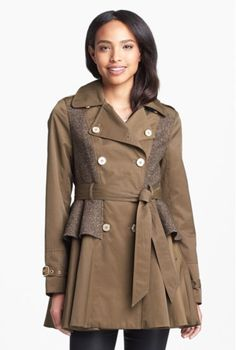 Tweed Panel Peplum Trench Coat - PERFECT for Fall!