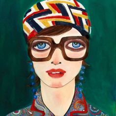"""""""Madeleine: The Gucci Chronicles"""" by Helen Downie (Unskilled Worker) Art And Illustration, Painting People, Woman Painting, Modern Portraits, Texture Photography, Fashion Painting, Italian Art, Texture Painting, Famous Artists"""