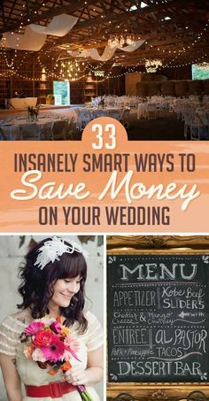 33 Insanely Smart Ways To Save Money On Your Wedding-- I love these ideas so so much! We did so many of these (thanks to recommendations from friends, family & our own research) and #4 is definitely one of my favorites!