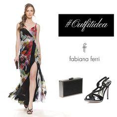 #Outfitidea.... #fantasy #flowers Fantasia floreale su base di chiffon nera, per un elegante abito lungo con spacco laterale e accessorio gioiello che chiude la base del corpetto. Abbina il sandalo nero con incrocio di cinturini raso, gioiello e clutch in tinta! #collezione #FabianaFerri #ShoesandBags  #woman #donna #donne #femminilita #fashionaddicted #moda #modadonna #abbigliamento #clothing #atelier #stile #style #look #outfit #eveninggown #eleganza #minidress #abitodasera