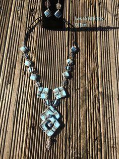 sautoir polymere perles carrées cane rayures
