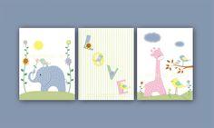 Kids Wall Art Print - Baby Room Decor- Nursery Art Print - Elephant - Giraffe - Birds - 8x10 Print. $36.00, via Etsy.
