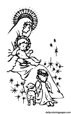 Jesus and Mary and a little angel :) Catholic colouring page