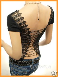 A babydoll T-shirt, cut out the back and replace with wide lace, then lace it up? Mmm. Must try!
