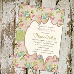 baby girl shower invitations floral pattern by katiedidesigns, $13.00