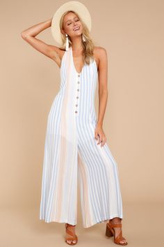 902c8fcef609 Blue Multi Jumpsuit - Trendy Striped Jumpsuit - Playsuit -  54 – Red Dress  Boutique Striped