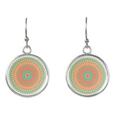 Colourful peppermint and apricot mandala fashion earrings - accessories accessory gift idea stylish unique custom