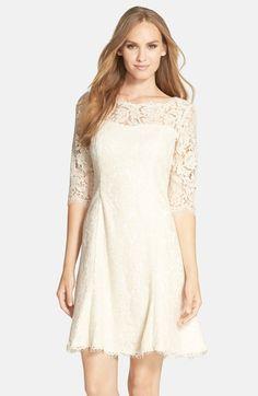 Lace, Ivory/Champagne Dress. Eliza J Lace Fit & Flare Dress (Regular & Petite)
