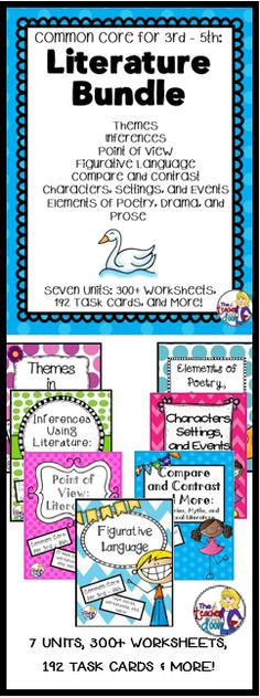 Over 300 worksheets and 192 task cards from 7 key Common Core reading units that are just right for 3rd - 5th graders. Topics include Themes, Inferences, Characters, Settings and Events, Figurative Language, Point of View, Elements of Poetry, Drama, and Prose and Compare and Contrast…all based upon literature that your students will enjoy reading. (TpT Resource)