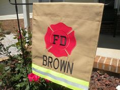 Firefighter flag love this http://www.etsy.com/listing/151521446/personalized-firefighterfire-man-fire