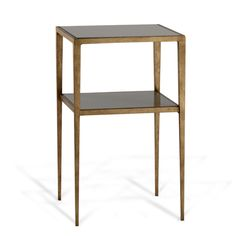Porta Romana - CST33, Salvatore Bedside Table - French Brass with Black Glass top