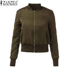 a4cf3b240c2 ZANZEA 2018 Fashion Women Winter Warm Quilted Zipper Stand Collar Slim Coat  Jacket Padded Bomber Short Outerwear Top 6 Colors-in Basic Jackets from  Women s ...