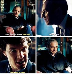 "Sherlock - The final problem - John Watson, Mycroft and Sherlock Holmes - ""This is family."" ""That's why he stays. Sherlock Holmes John Watson, Sherlock Fandom, Sherlock John, Sherlock Quotes, Sherlock Season 1, Sherlock Tumblr, Mycroft Holmes, Jim Moriarty, Benedict And Martin"