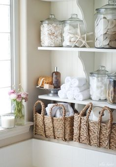 These DIY bathroom linen shelves are practical and very attractive. (And we're pleased to point out that the wood shelf brackets came from The Home Depot.) Kristen Whitby takes you through this beach-themed bathroom upgrade, including adding beadboard and Nautical Bathroom Design Ideas, Beach Theme Bathroom, Diy Bathroom, Small Bathroom, Bathroom Designs, Bathroom Ideas, Master Bathroom, Bathroom Closet, Downstairs Bathroom