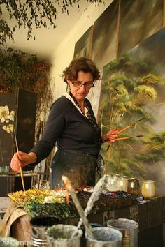 Claire Basler working in her studio