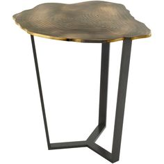 """""""Narcisse"""" Bronze and Steel Side Table by Franck Chartrain ❤ liked on Polyvore featuring home, furniture, tables, accent tables, bronze furniture, steel side table, steel furniture, bronze table and french end table"""