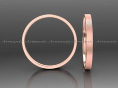 2.00mm Wide Rose Gold Wedding Band, Hand Made 14k Solid Gold Wedding Ring Stuck…