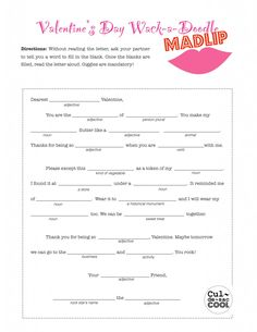 Valentine's Day Wack-a-Doodle MadLip Game/Activity (free printable)