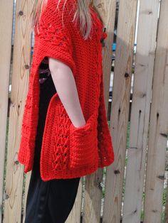 Ravelry: Celtic Moods Wrap pattern by Carol S. Abbott - Celtic Moods Wrap pattern by Carol S. Cardigan Au Crochet, Crochet Poncho Patterns, Crochet Shawls And Wraps, Crochet Jacket, Crochet Scarves, Crochet Clothes, Ponchos And Wraps, Crochet Cozy, Crochet Blankets