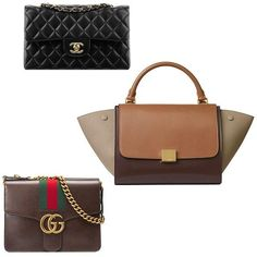 Chanel small classic flap bag, Céline small trapeze bag, Gucci GG Marmont leather shoulder bag