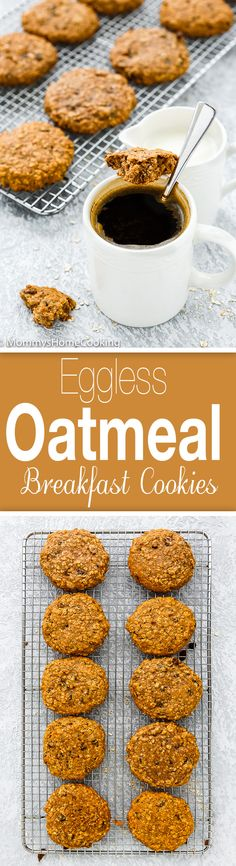These Eggless Oat Breakfast Cookies are soft loaded with nutrients and great textures. Theyre a deliciously healthy way to start off the day. Oatmeal Breakfast Cookies, Paleo Breakfast, Breakfast Recipes, Dessert Recipes, Egg Desserts, Breakfast Time, Brunch Recipes, Breakfast Ideas, Eggless Recipes
