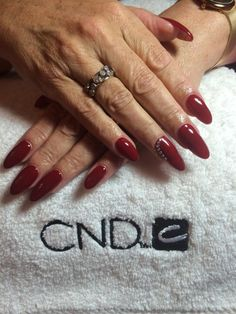 CND Shellac Scarlet Letter with Swarovski crystals by Sam Pearce